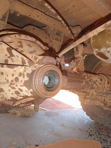 "Rear differential of the troopie after the driveshaft has been ""torn"" off"