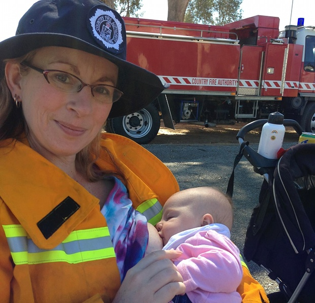breastfeeding firefighter