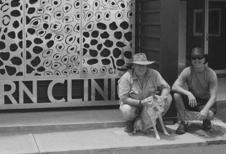 Robbo, George and Girl outside Wanarn Clinic
